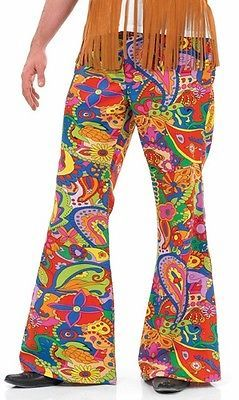 Womens Hippy Hippie Flares Pants 1960s 60s Fancy Dress Costume Trousers Flared