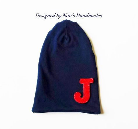 8282c789f62b7 Nautical Navy Slouchy with Initial  initial hat  baby  kids  toddler  baby  hat  slouchy kids  summer hat  hat with letter
