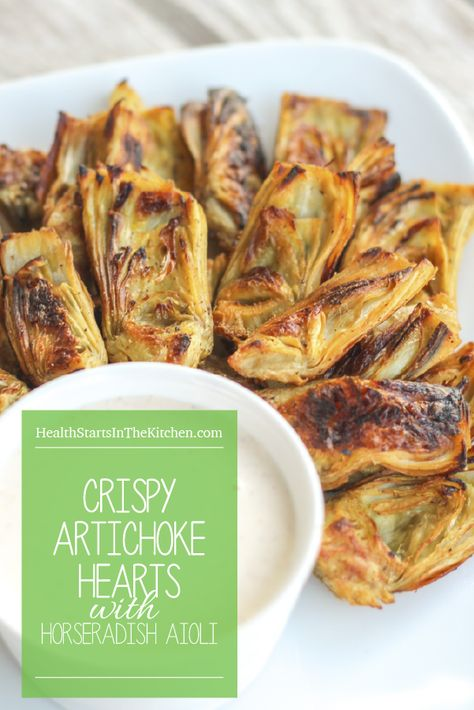 Perfect Healthy & Delicious Superbowl Snack!! Crispy {Baked} Artichoke Hearts with Horseradish Aioli {Low-Carb, Paleo, Grain & Gluten-Free, Real Food, Dairy-Free, Vegetarian}
