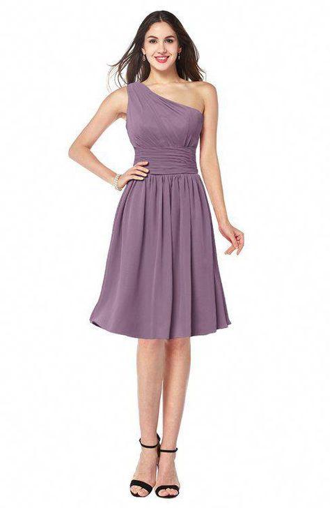 ffe721829b79 ColsBM Violet Mauve Sexy Asymmetric Neckline Sleeveless Zip up Chiffon Knee  Length Plus Size Bridesmaid Dresses #plussizecocktaildresses