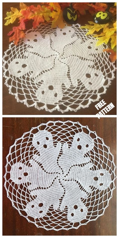 Discover recipes, home ideas, style inspiration and other ideas to try. Halloween Celebration, Halloween Party Decor, Halloween Crafts, Thread Crochet, Crochet Doilies, Knit Crochet, Free Crochet Doily Patterns, Crochet Doily Diagram, Lace Doilies