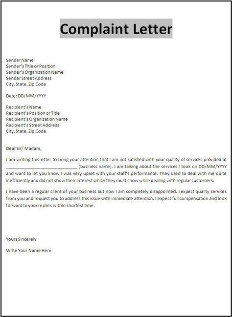 Verbal Abuse Complaint Letter  Comlaint Letters