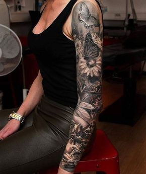 Arm Sleeve Tattoo Chest Tattoos For Women Butterflies And Flowers Black Top Black Leather P Chest Tattoos For Women Tattoos For Women Arm Tattoos For Women