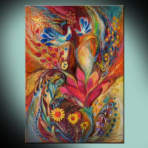 The Tree of Life: high quality canvas print based on Jewish art painting with Kabbalah symbols from Israeli artist. Best gift from Holy Land...