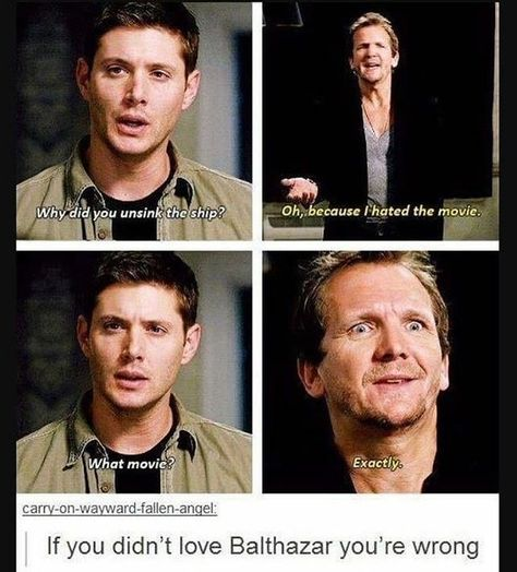 Discovered by deanslove. Find images and videos about funny, boys and supernatural on We Heart It - the app to get lost in what you love. Destiel Supernatural, Wallpapers Supernatural, Tumblr Supernatural, Castiel, Balthazar Supernatural, Best Supernatural Quotes, Supernatural Symbols, Book Series, Supernatural