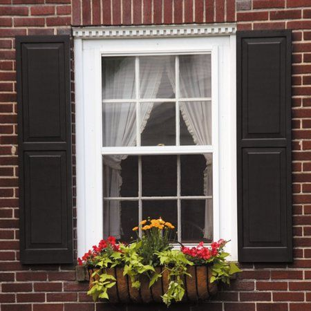 Awc Exterior Window Shutters Raised Panel Pair Walmart Com In 2020 House Shutters Window Trim Exterior Brick Exterior House