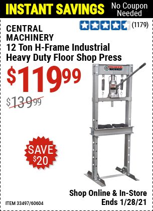 Central Machinery 12 Ton H Frame Industrial Heavy Duty Floor Shop Press For 119 99 In 2021 H Frame Harbor Freight Tools Harbor Freight Coupon