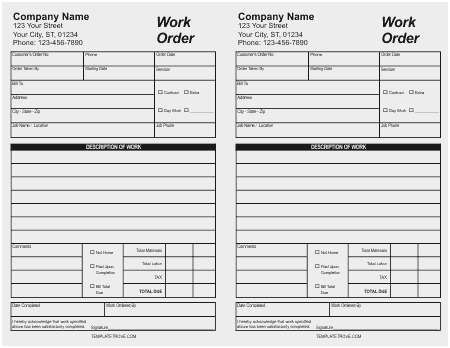order form examples template  Business Card order form Template Admirably 5 Work order ...