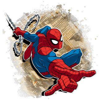 Spider Man Web Slinging Above Grunge City Spiderman Ultimate Spiderman Spider