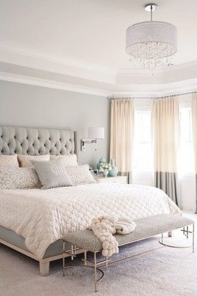 gray, white, and tan bedroom. Great two tone curtains and ...