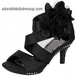 Girls High Heel Shoes Black Satin Little Girls Dressy High Heels Kidsshoeswide Girls High Heel Shoes Girls High Heels Little Girl Shoes