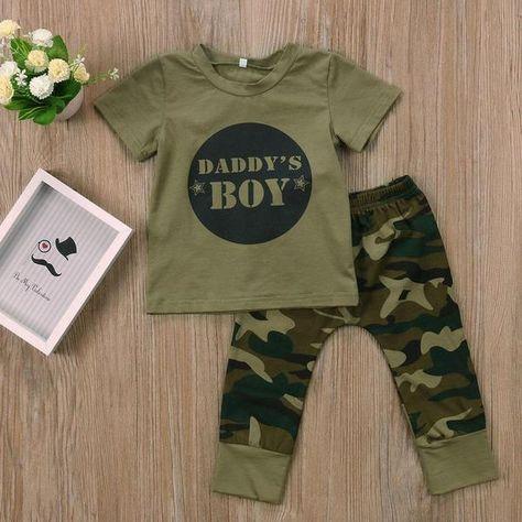 Newborn Baby Boy Girl Clothes Daddy Tops Shirt Camo Long Pants 2PCS Outfits Set