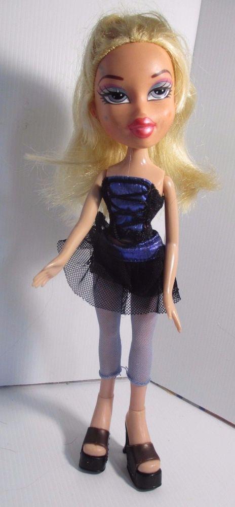 Bratz Doll Long Light Blonde Hair Black Top Skirt Tights Brown High Heels Bratz Light Blonde Hair Light Blonde Brown High Heels