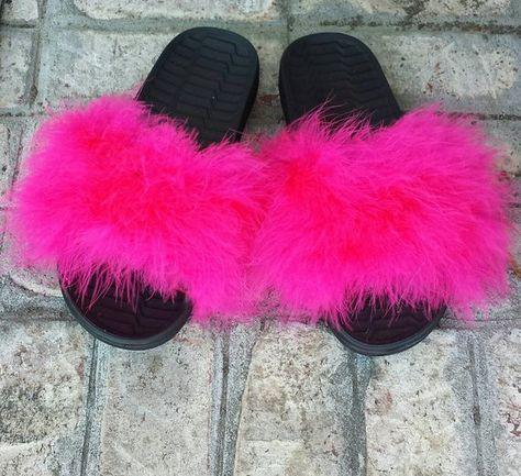 efae7f07dfd3e5 Nike Fur slides - Pink Furry Slides - Custom Slip Ons - custom slides -  Celebrity