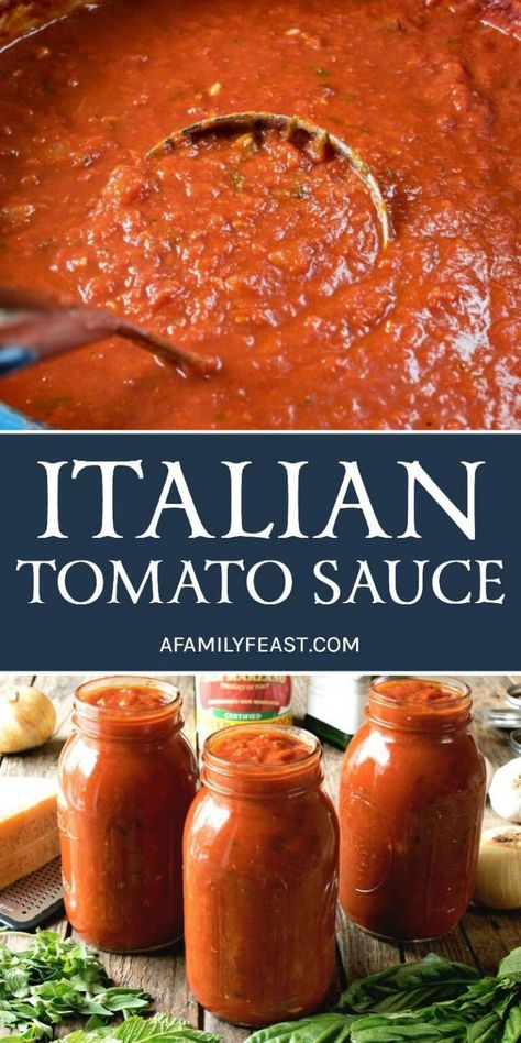 An authentic and delicious Italian Tomato Sauce that has been passed down through generations. So good, it's sure to become your family's go-to sauce recipe! # pasta sauce recipes The Best Italian Tomato Sauce - A Family Feast® Pasta Sauce Recipes, Pasta Sauce Canning Recipe, Tomato Sauce Canning, Red Pasta Sauce, Freezing Tomato Sauce, Italian Tomato Pasta Sauce, Tomato Canning Recipes, Tomato Paste Sauce, Garden Tomato Recipes