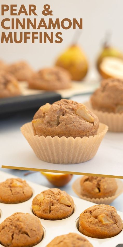 Easy healthy and delicious pear muffins. You can use fresh pears or canned pears, both work. The combination of pears and cinnamon is so good! #muffins #muffinrecipes #kidssancks #pears