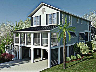 Elevated Piling And Stilt House Plans Coastal Home Plans With Images Stilt House Plans Coastal House Plans House On Stilts