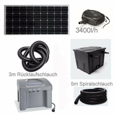80 W Solar Teichpumpe Akku Bachlauf Filter Pumpe Solarpumpe