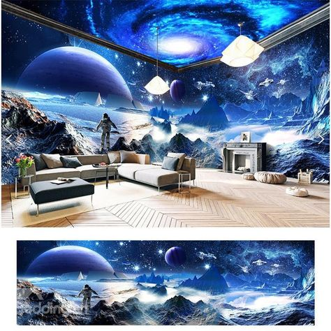 Amazing Surface of Moon Scenery Pattern Design Waterproof Combined 3D Ceiling and Wall Murals          - beddinginn.com
