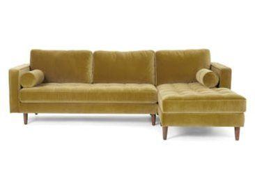 Scott Ecksofa Recamiere Rechts Samt In Gold Sofas Couch Kaufen Kleine Couch