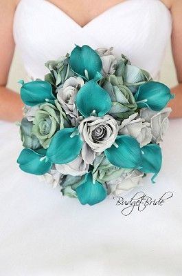 Green And Gray Wedding Flower Bouquet With Teal Calla Lily Teal Wedding Bouquet Teal Wedding Flowers Teal Wedding