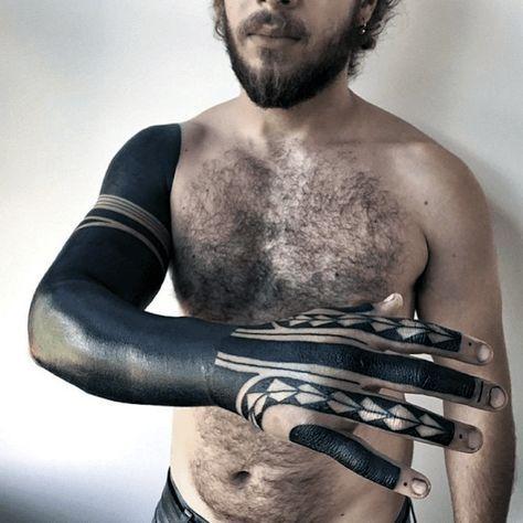 Full Sleeve With Hand Tattoo Of Blackwork Design