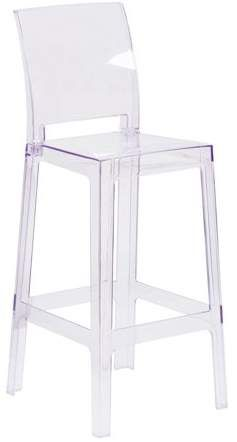 Flash Furniture Ghost Barstool In Transparent Crystal With Square