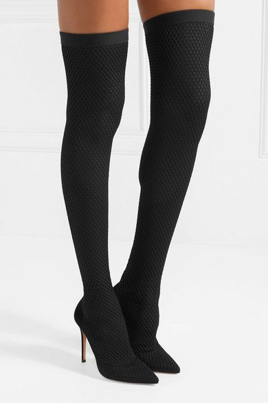 Black 105 Suede And Honeycomb Knit Over The Knee Sock Boots Gianvito Rossi Over The Knee Sock Boots Over The Knee Socks Fashion