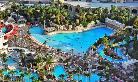 Mandalay Bay Wave Pool and Beach, best place on the Las Vegas strip. They have REAL sand and a lazy river!