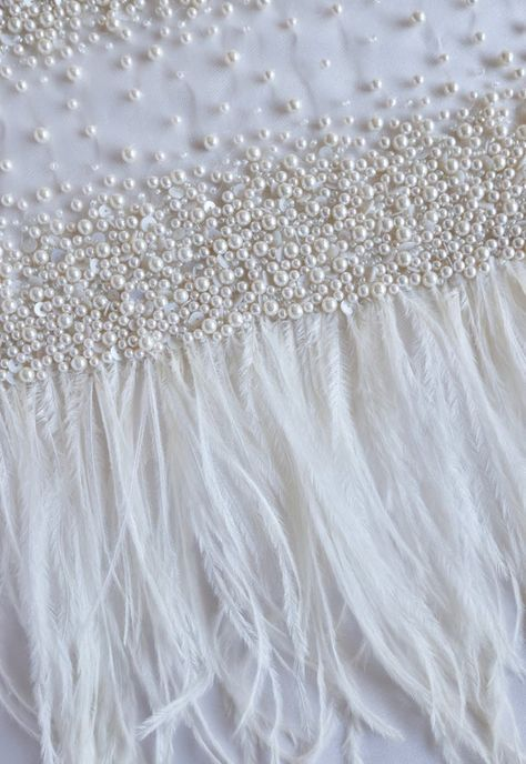 78fb55dbd830d 3D Peach Pearl Beaded Lace Trim with Ostrich feather for bridal veil ...