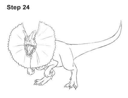 Dilophosaurus Coloring Page How To Draw A With Regard To Coloring