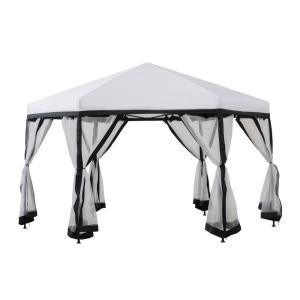 Sunjoy Bushwick 11 Ft X 11 Ft White And Black 2 Tone Pop Up Portable Hexagon Steel Gazebo With Mosquito Netting 169247 The Home Depot In 2020 Steel Gazebo Gazebo Steel Frame