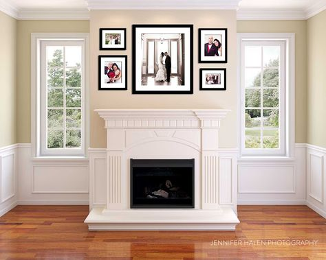 fireplace frames to put on wall above fireplace but with 4 square rh pinterest com picture wall above fireplace hanging picture above fireplace mantel