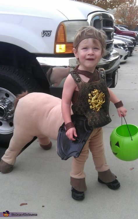 DIY Baby Centaur Costume. Large stuffed horse animal pattern. Stuff everything as full as possible (don't stuff the front legs that's for your kids legs). Faux leather for waist band, suspenders, head band and armbands. For the back feet add some caster wheels. Just add a shield and sword to complete the look (Dollar Store). You could look for large stuffed horse at Goodwill.