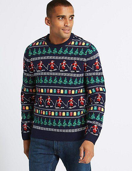 Fair Isle Christmas Sweater.Skiing Santa Fairisle Jumper With Lights Christmas