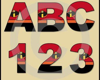 The Incredibles Alphabet & Numbers Clip art Graphics ... on