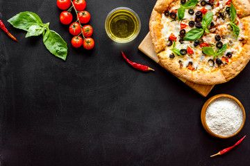 Traditional Italian Food Pizza On Black Background Top View Copy