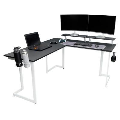 Techni Sport Warrior L Shaped Gaming Desk White Black White In 2020 Gaming Desk White Gaming Desk White Computer Desk