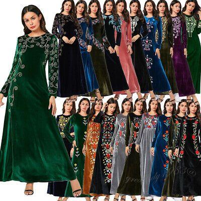 Velvet Muslim Dress Women Embroidery Abaya Kaftan Islamic Long Sleeve Robe Gown