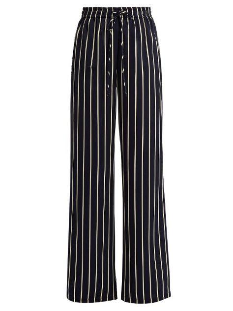 Raey Striped wide-leg satin trousers