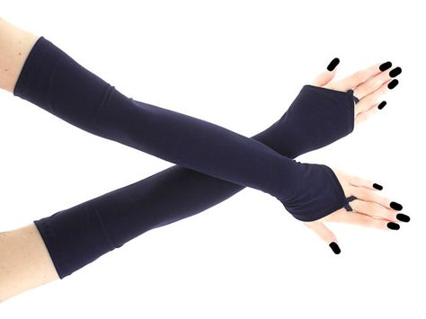 Extra long blue fingerless gloves arm warmers by FashionForWomen Gothic Outfits, Edgy Outfits, Cosplay Outfits, Cool Outfits, Fashion Outfits, Blue Gloves, Long Gloves, Mode Emo, Jugend Mode Outfits