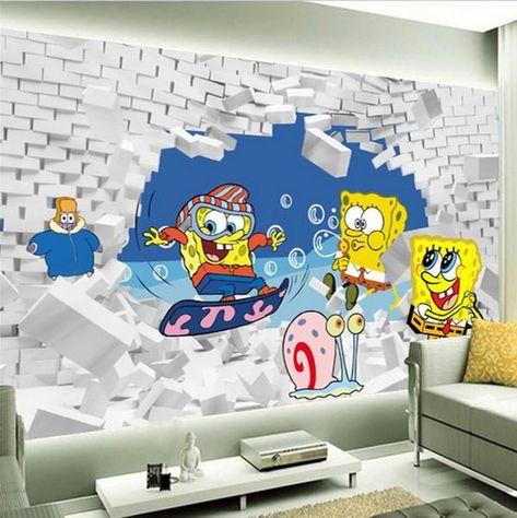 Spongebob Squarepants Cartoon Wallpaper for Kids' Room