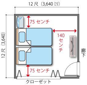 8畳の主寝室にシングルベッド2台 寝室 レイアウト 8畳 レイアウト 主寝室のデザイン