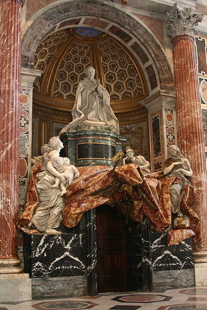 La última obra de Bernini en la Basílica de San Pedro, La tumba del papa Alejandro VII , el Vaticano -