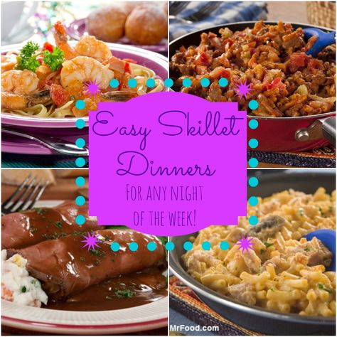 28 Easy Skillet Dinners - A collection of some of our favorite skillet dinner recipes, including beef, chicken, pork, pasta, and seafood.