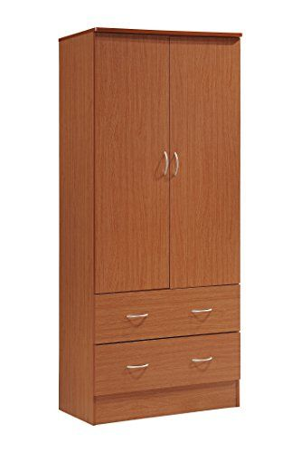 Hodedah Two Door Wardrobe With Two Drawers And Hanging Rod