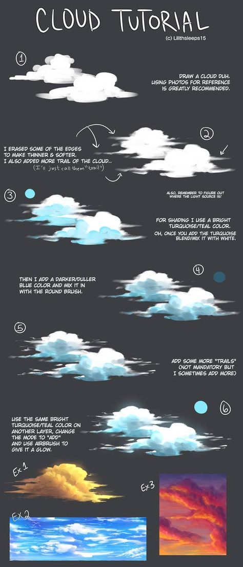 "art-res: ""lilithsleeps: ""I forgot to post this here. A Cloud tutorial that I made for meself. "" A delightful cloud tutorial! Digital Painting Tutorials, Digital Art Tutorial, Art Tutorials, Drawing Tutorials, Illustrator Tutorials, Portrait Paintings, Art Paintings, Landscape Paintings, Acrylic Paintings"