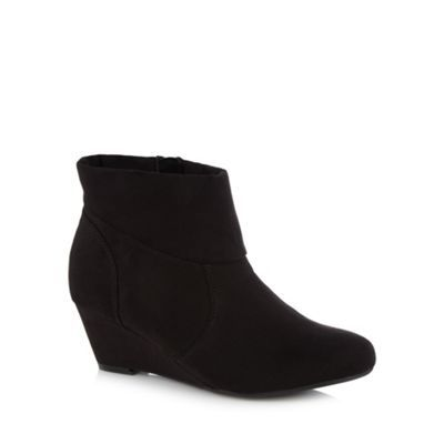 Clarks Black suede Lumiere Spin fur cuffed wedge lace up ankle boot- at  Debenhams.com | Things to wear | Pinterest | Black suede, Clarks and Ankle  boots