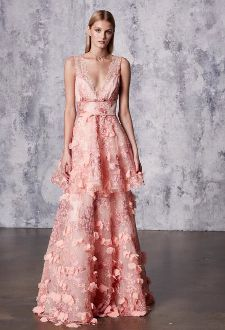 594eaebb8a Marchesa Notte Pink Sleeveless 3D Embroidered Gown N17G0472   New ...