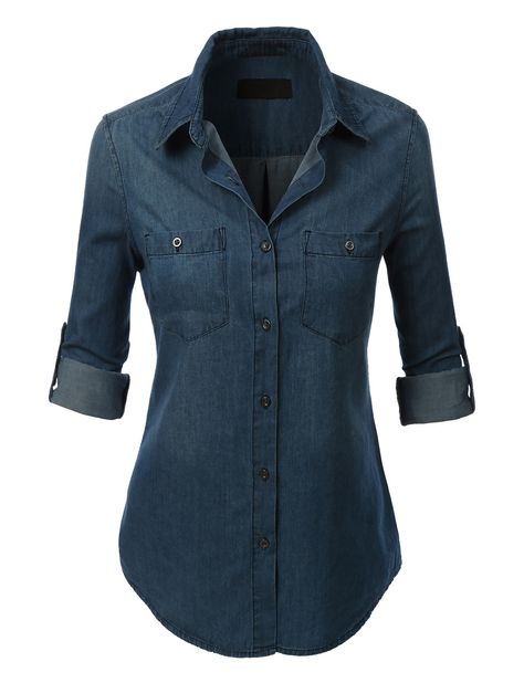 LE3NO Womens Lightweight Button Down Denim Jean Shirt with Pockets | LE3NO